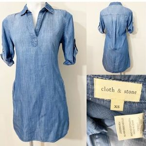 Cloth & Stone Blue Chambray A-line Shirt Dress XS